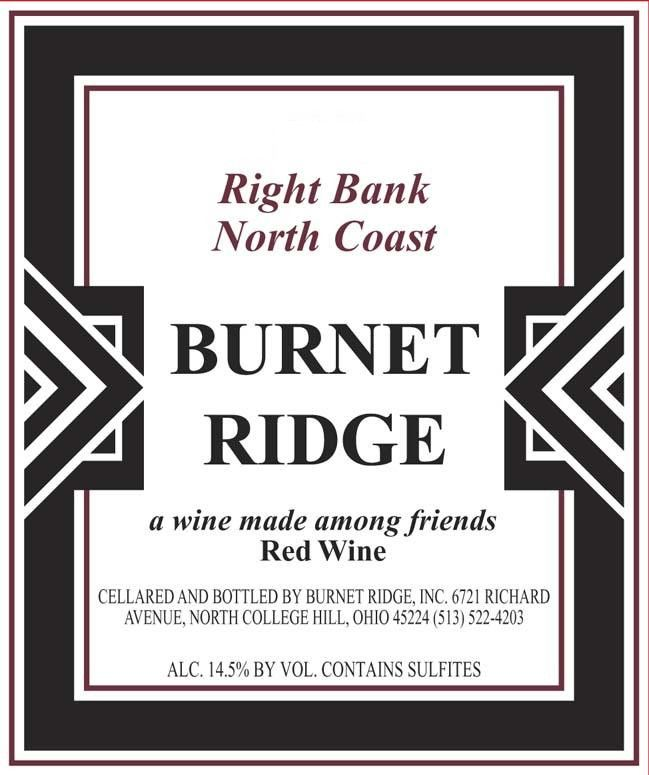 Burnet Ridge Right Bank 2013 Front Label