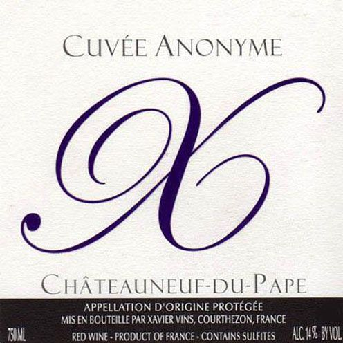 Xavier Vins Chateauneuf-du-Pape Cuvee Anonyme X 2007 Front Label