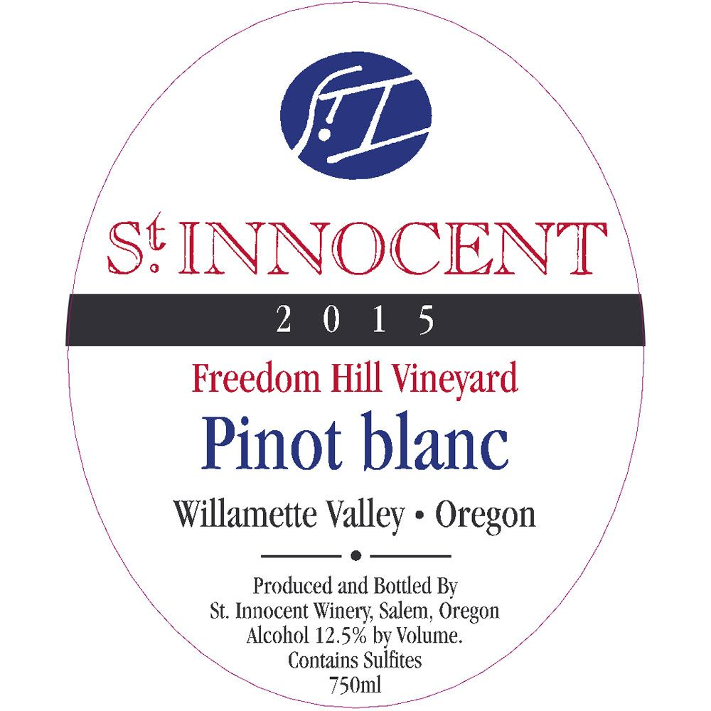 St. Innocent Freedom Hill Pinot Blanc 2015 Front Label