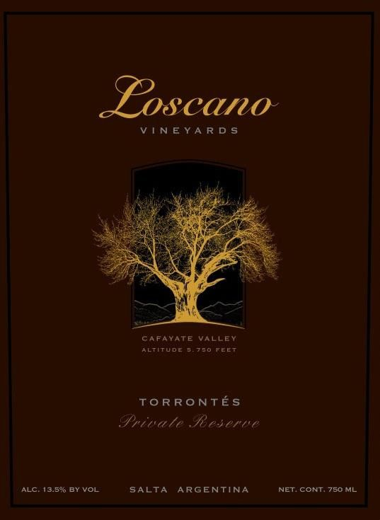 Loscano Private Reserve Torrontes 2014 Front Label