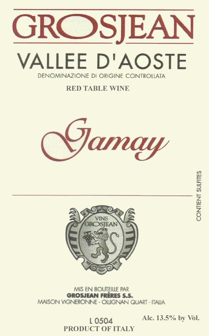 Maison Vigneronne Freres Grosjean Vallee d'Aoste Gamay 2012 Front Label