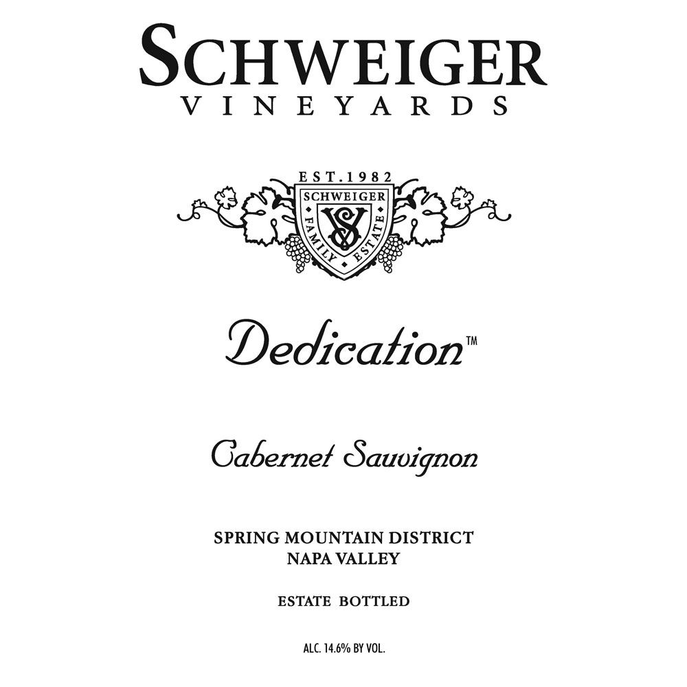 Schweiger Vineyards Dedication Cabernet Sauvignon 2011 Front Label