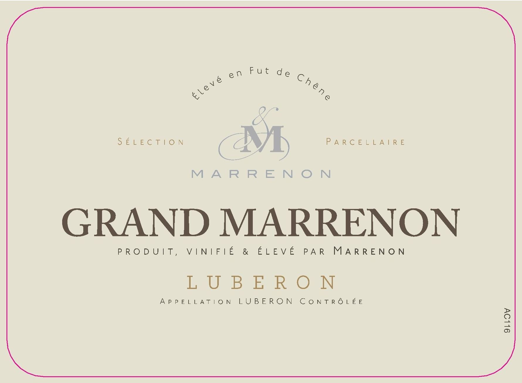 Marrenon Luberon Grand Marrenon Blanc 2010 Front Label