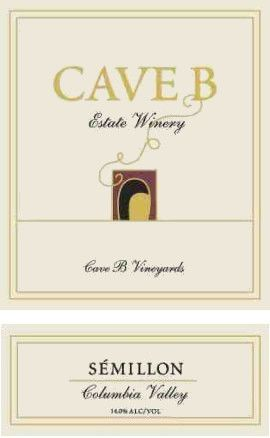 Cave B Estate Winery Columbia Valley Semillon 2008 Front Label
