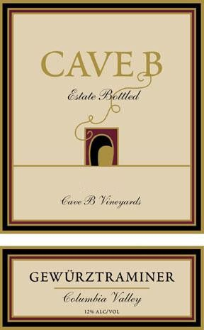 Cave B Estate Winery Columbia Valley Gewurztraminer 2009 Front Label