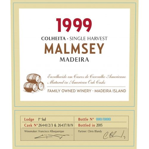 Blandy's Madeira Colheita Malmsey Single Harvest (500ML) 1999 Front Label