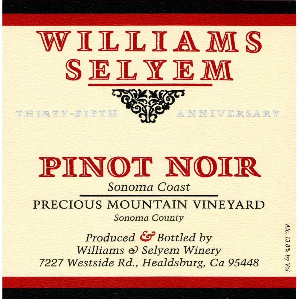 Williams Selyem Precious Mountain Pinot Noir 2006 Front Label