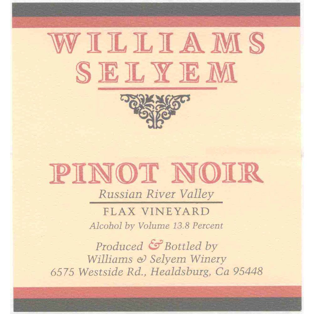 Williams Selyem Flax Vineyard Pinot Noir 2004 Front Label