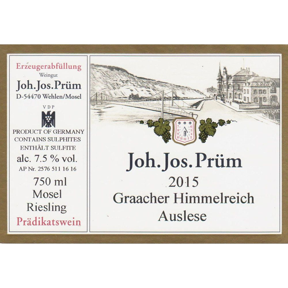 J.J. Prum Graacher Himmelreich Gold Capsule Auslese Riesling (375ML) 2015 Front Label