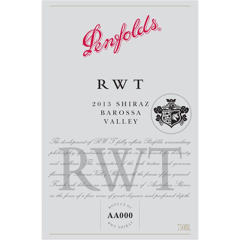 Penfolds RWT Shiraz 2013 Front Label