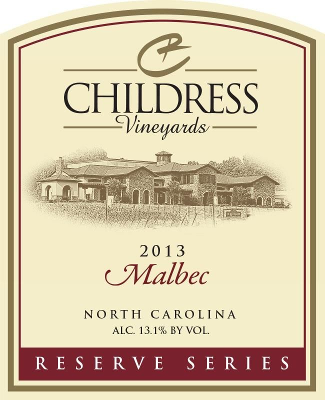 Childress Winery & Vineyards Reserve Series Malbec 2013 Front Label