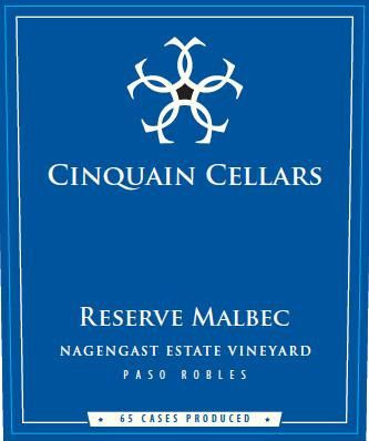 Cinquain Cellars Winery Nagengast Estate Vineyard Reserve Malbec 2010 Front Label