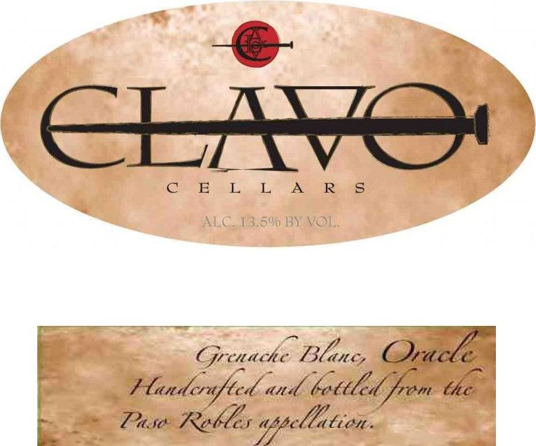Clavo Cellars Oracle Grenache Blanc 2012 Front Label