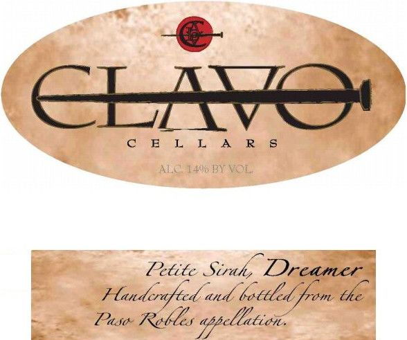 Clavo Cellars Dreamer Petite Sirah 2011 Front Label
