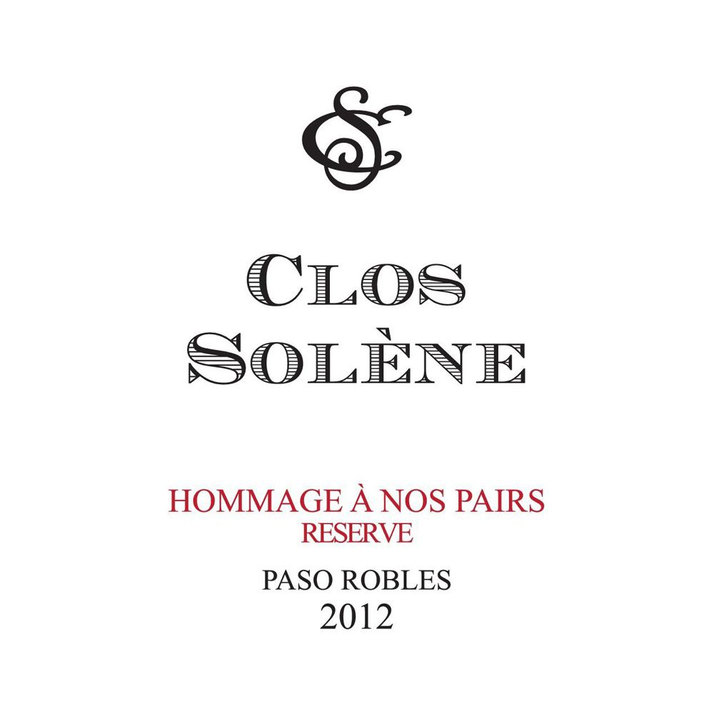 Clos Solene Hommage a nos Pairs Reserve 2012 Front Label