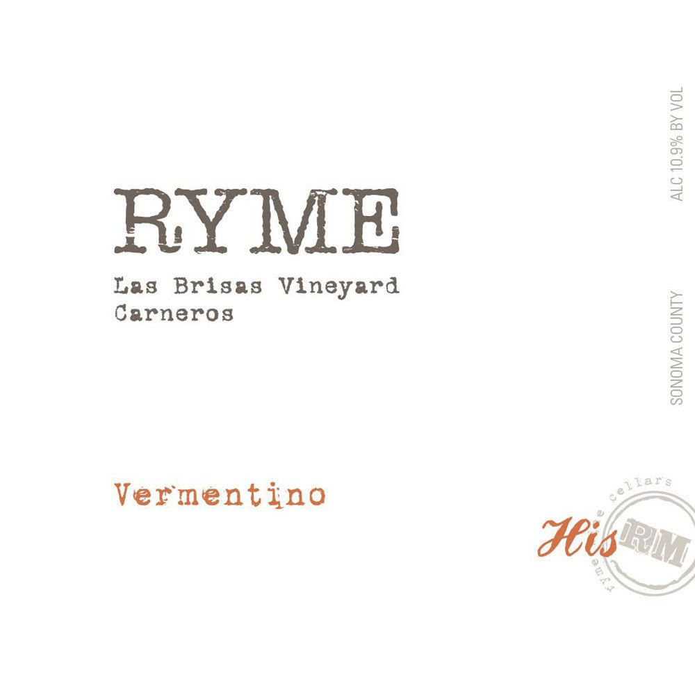 Ryme Las Brisas Vineyard His Vermentino 2015 Front Label