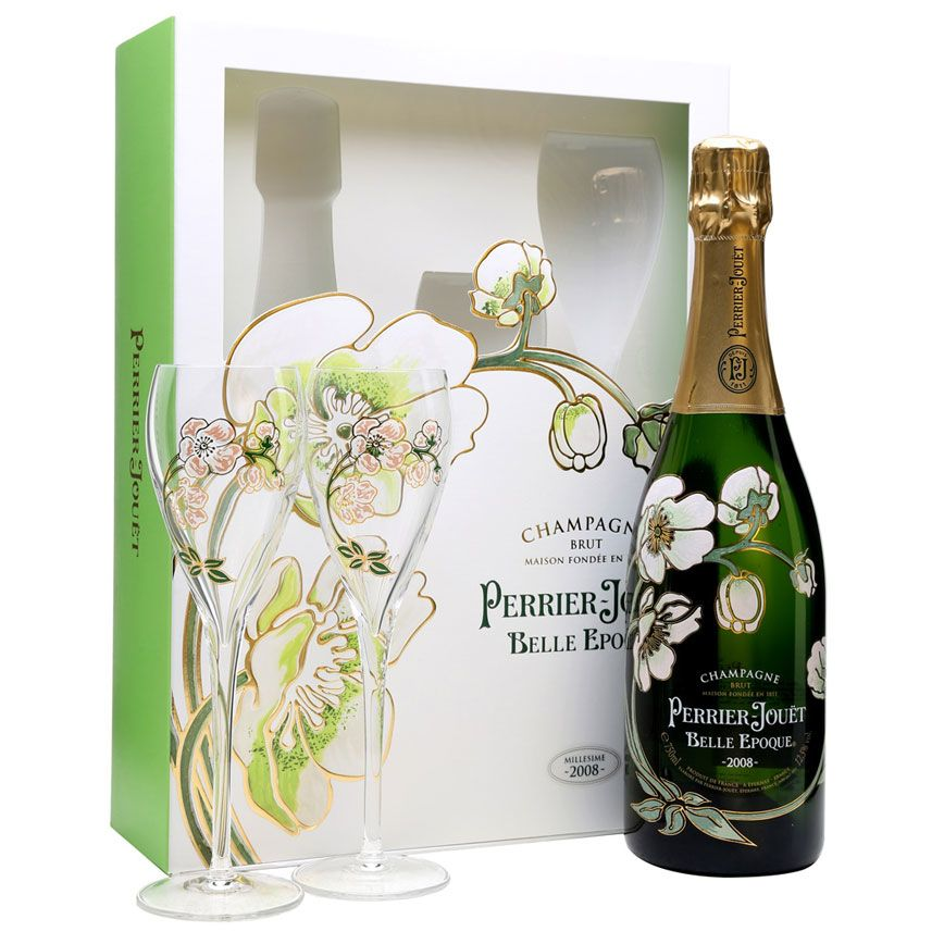 Perrier-Jouet Belle Epoque With Glassware Set 2008 Front Label