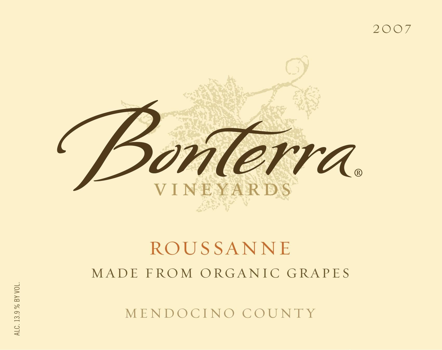 Bonterra Organiclly Grown Roussanne 2007 Front Label