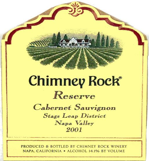 Chimney Rock Cabernet Sauvignon Stags Leap District Reserve 2001 Front Label