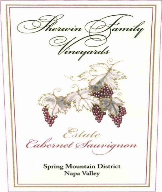 Sherwin Family Vineyards Spring Mountain District Estate Cabernet Sauvignon 1998  Front Label