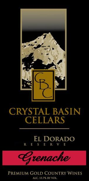 Crystal Basin Cellars Reserve Grenache 2010 Front Label