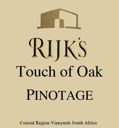 Rijk's Private Cellar Touch of Oak Pinotage 2014 Front Label