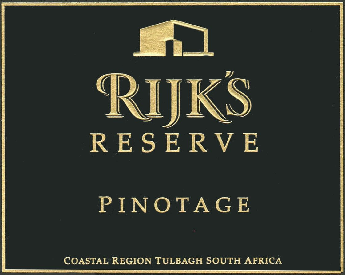 Rijk's Private Cellar Reserve Pinotage 2008 Front Label