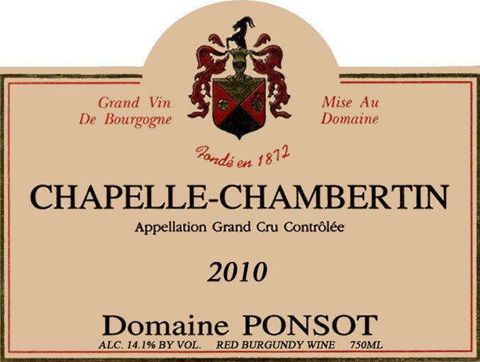 Domaine Ponsot Chapelle-Chambertin 2010 Front Label