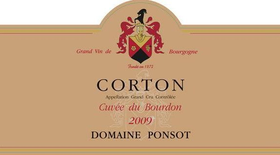 Domaine Ponsot Corton Cuvee du Bourdon Grand Cru 2009 Front Label