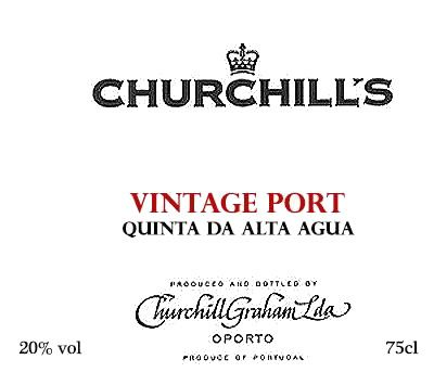 Churchill's Quinta da Agua Alta Vintage Port 1992 Front Label