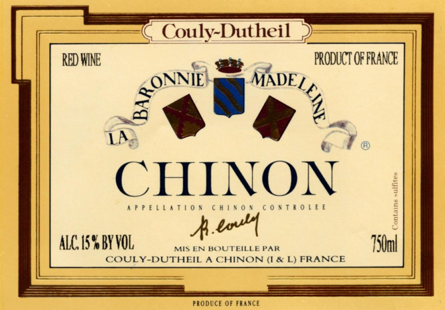 Couly-Dutheil Chinon Barronie Madeleine 2009 Front Label