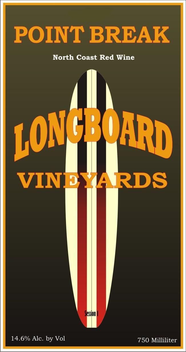 Longboard Point Break Red Blend 2010 Front Label