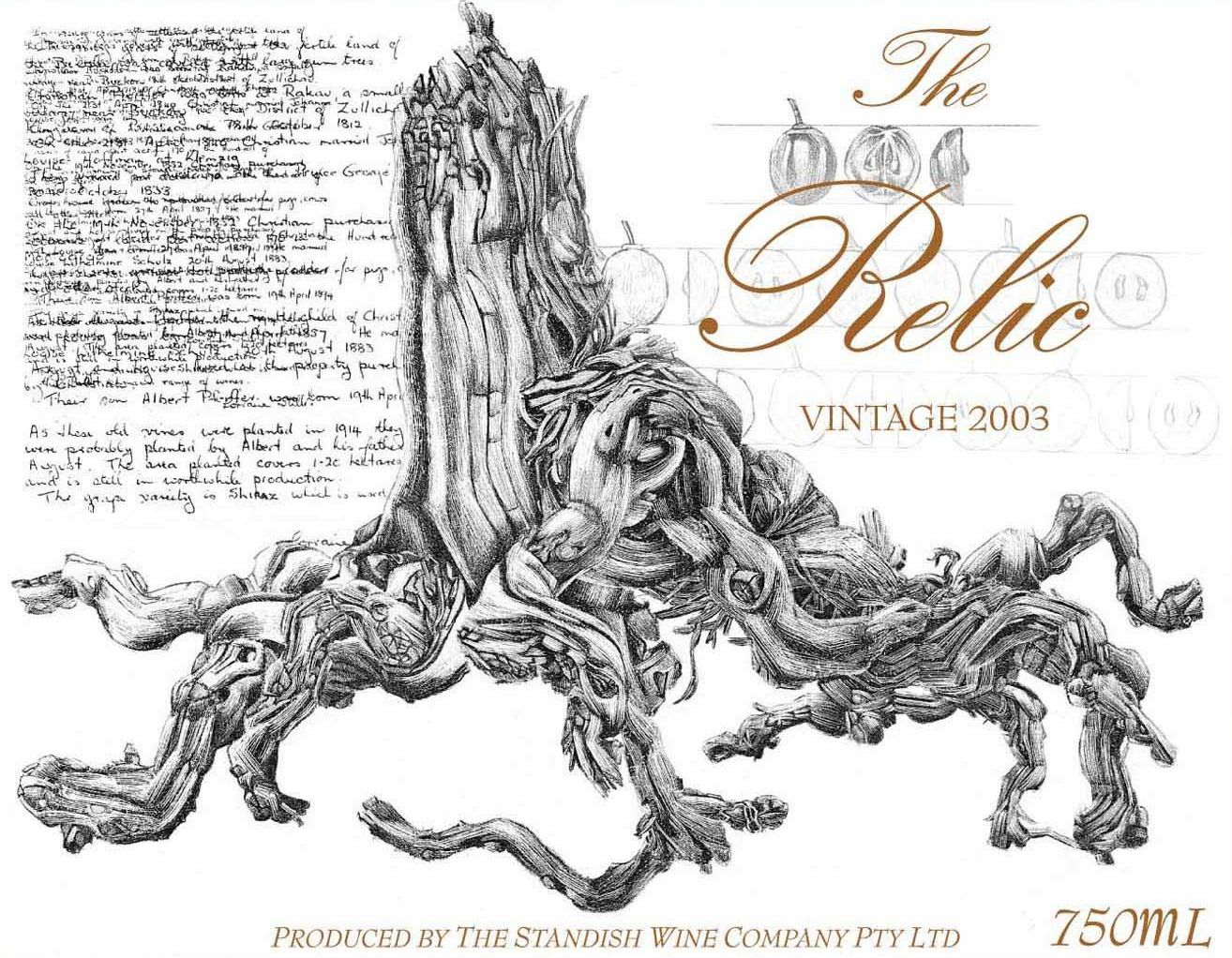 Standish The Relic Shiraz 2003 Front Label