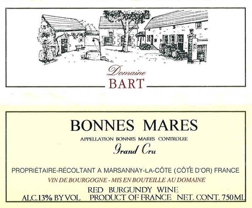 Andre Bart Bonnes Mares Grand Gru 2014 Front Label