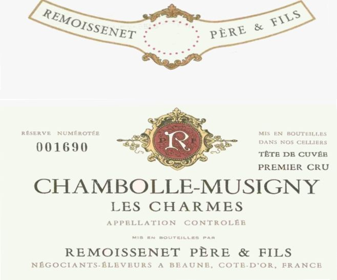Remoissenet Chambolle-Musigny Charmes Premier Cru 1969 Front Label