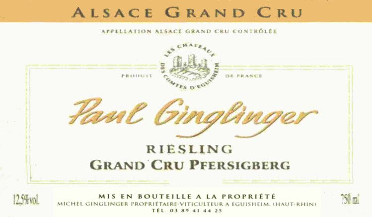 Domaine Paul Ginglinger Pfersigberg Riesling Grand Cru 2010 Front Label