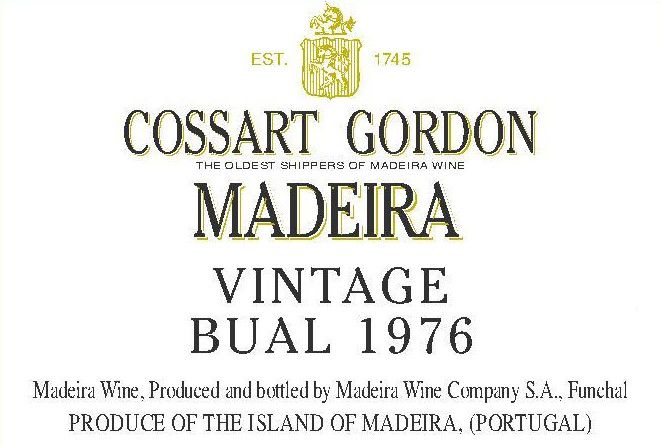 Cossart Gordon Bual 1976 Front Label