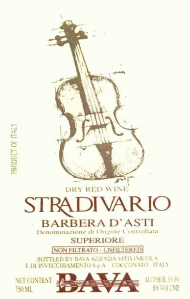 Bava Stradivario Barbera 1999 Front Label