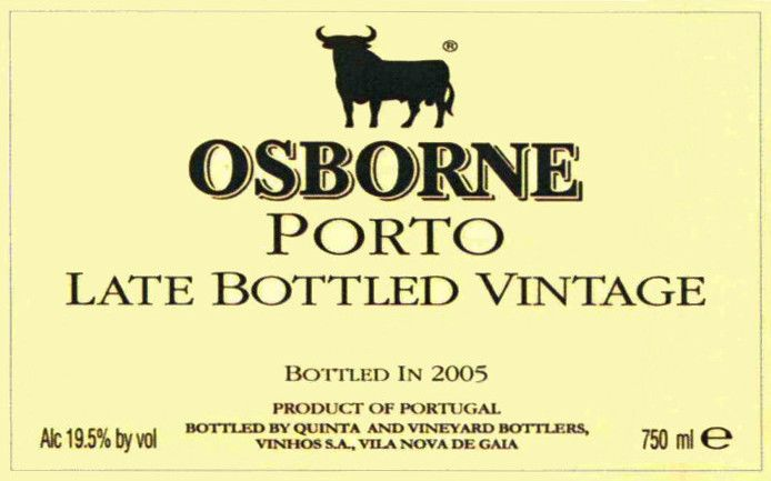 Osborne Late Bottled Vinatge Porto 2001 Front Label