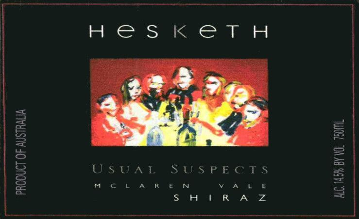 Hesketh Usual Suspects Shiraz 2012 Front Label