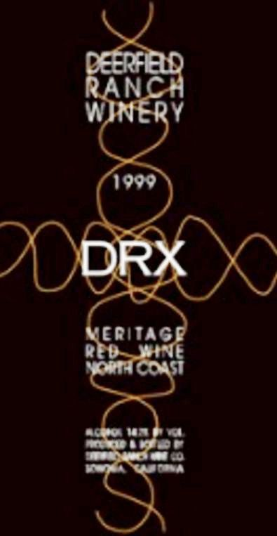 Deerfield Ranch Winery DRX Red 1999 Front Label