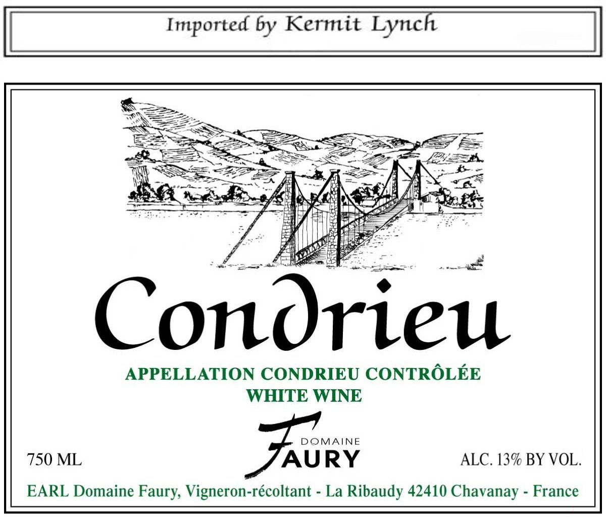 Lionel Faury Condrieu 2011 Front Label