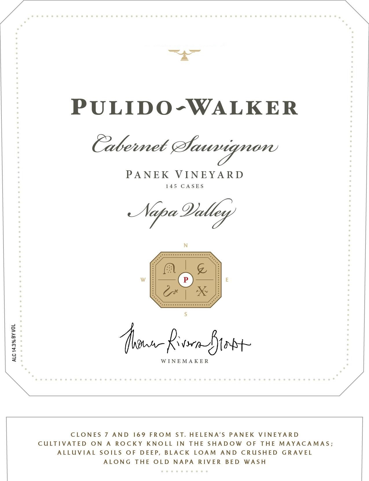 Pulido Walker Panek Vineyard Cabernet Sauvignon 2012 Front Label