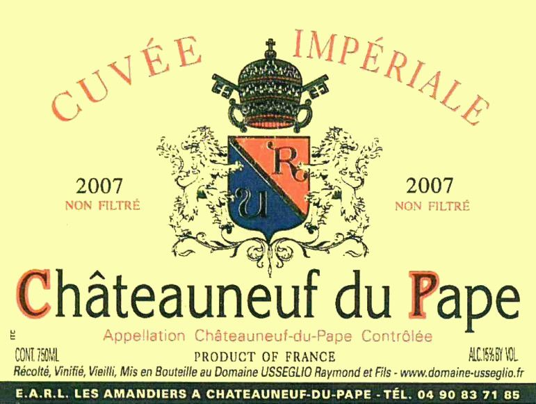 Domaine Raymond Usseglio Chateauneuf-du-Pape Cuvee Imperiale 2007 Front Label