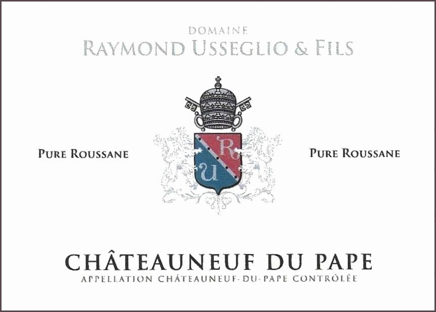 Domaine Raymond Usseglio Chateauneuf-du-Pape Pure Roussanne 2013 Front Label