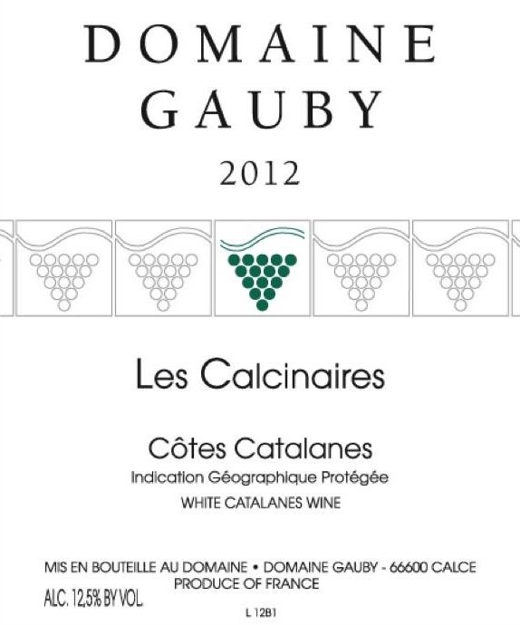 Domaine Gauby Calcinaires 2012 Front Label