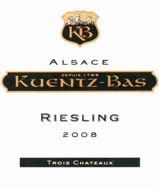Kuentz-Bas Trois Chateaux Riesling 2008 Front Label