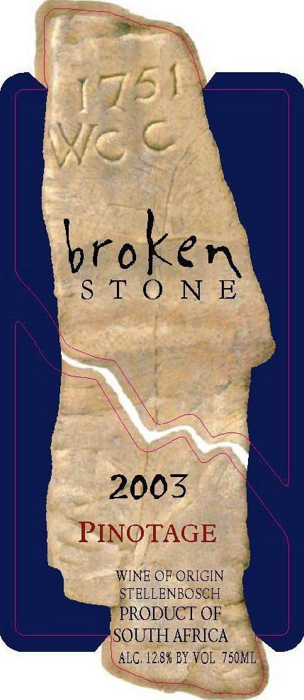 Slaley Broken Stone Pinotage 2003 Front Label