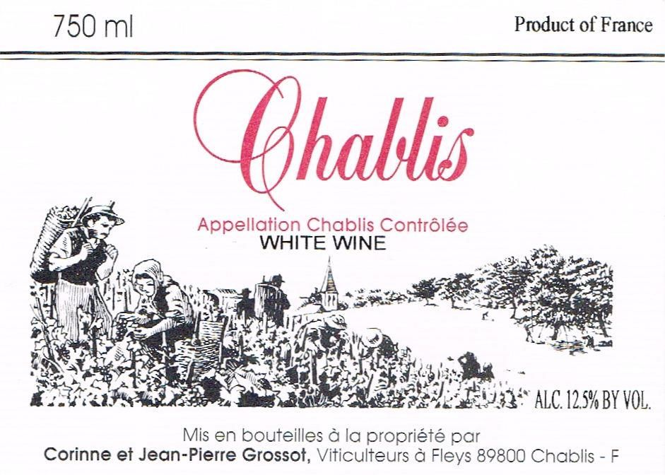 Grossot Chablis 2009 Front Label
