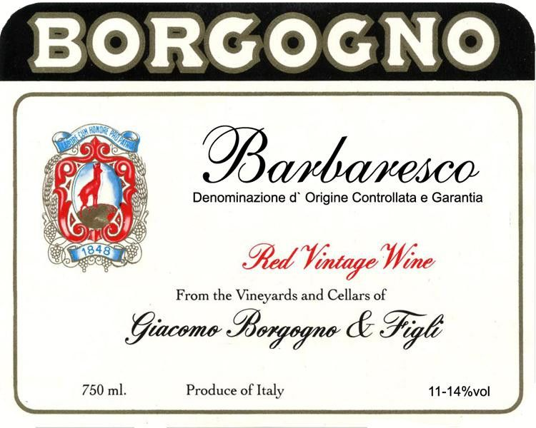 Borgogno Barbaresco 1986 Front Label